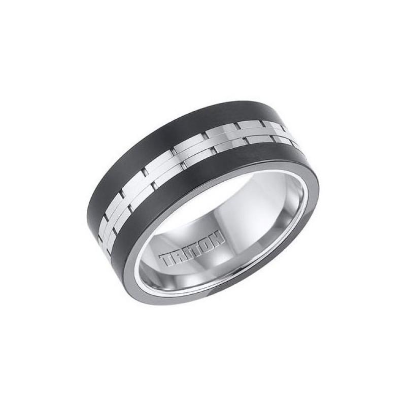 Triton Black And White Tungsten Carbide Comfort Fit Band 11-01-4324