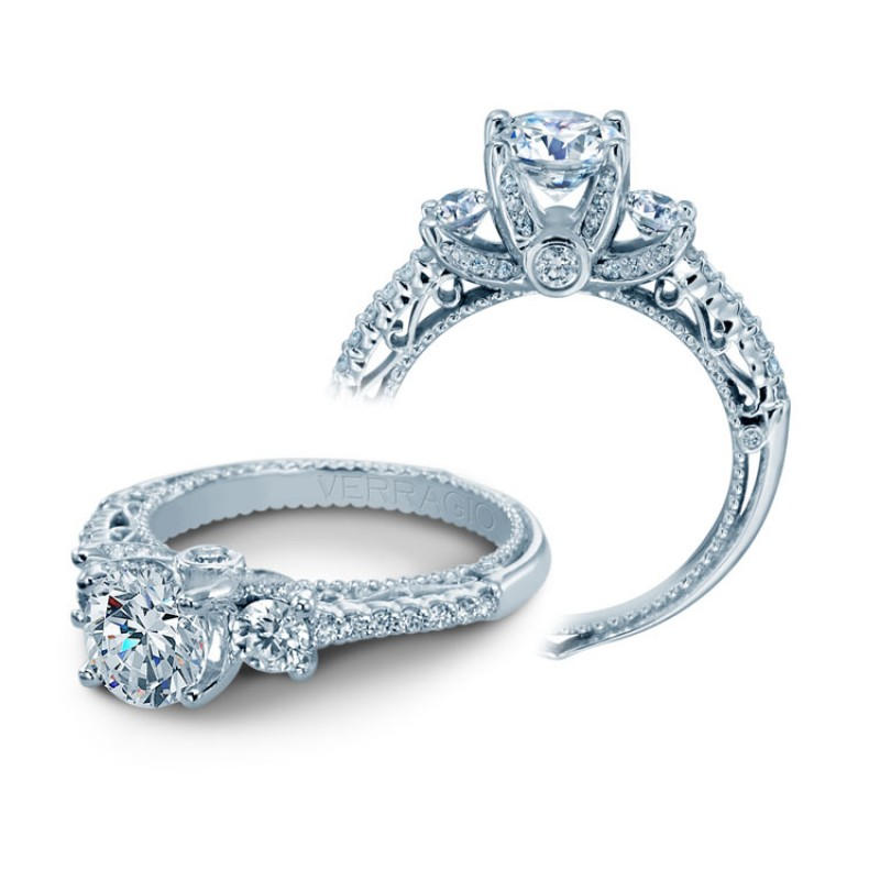 Verragio Three Stone Prong-Set Diamond Engagement Ring