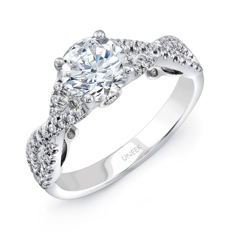 "Uneek ""Paradiso"" Round Diamond Solitaire Engagement Ring with Pave Infinty/Crisscross Shank and Unde"