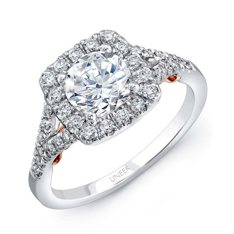 """Uneek """"Cancelli"""" Round Diamond Engagement Ring with Cushion-Shaped Halo and Pave Split Shank in 14K"""