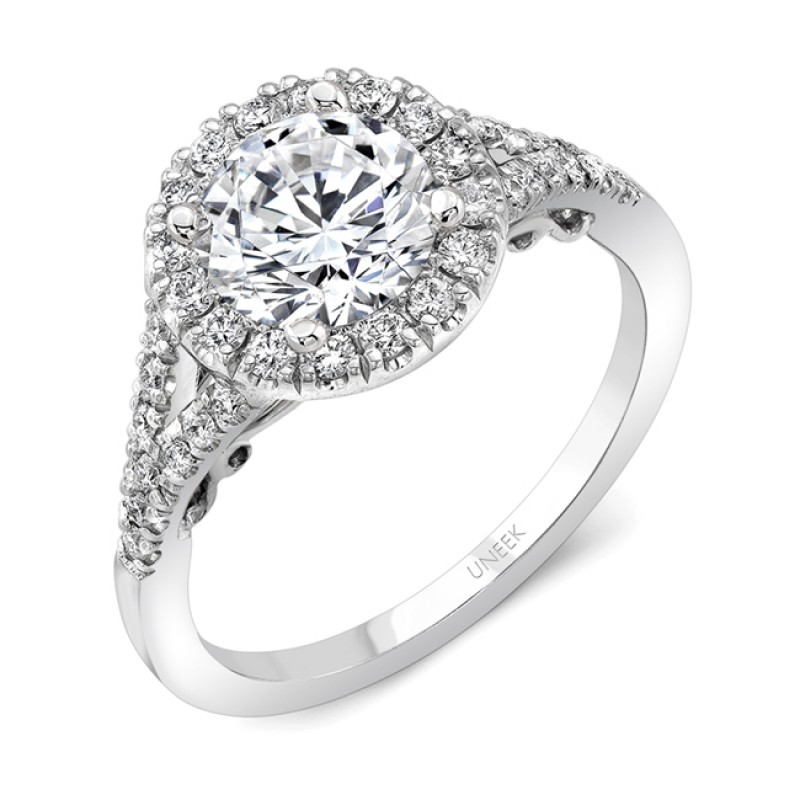 "Uneek ""Cancelli"" Round Diamond Halo Engagement Ring with Pave Split Shank and Under-the-Head Filigre"