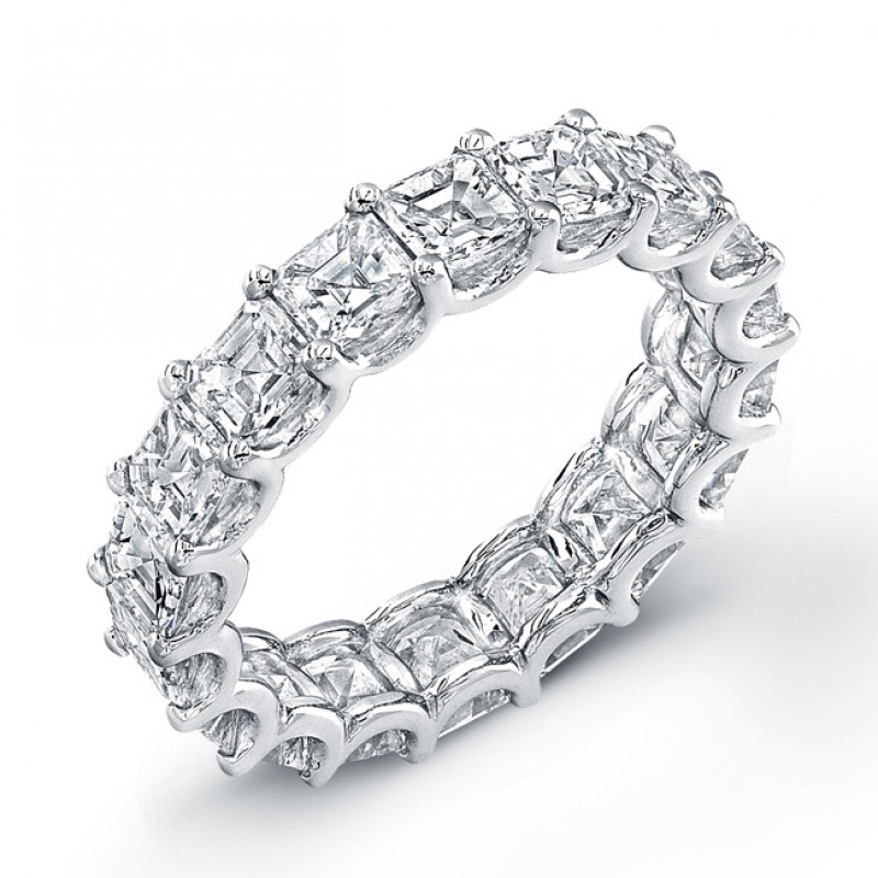 Uneek Platinum Asscher Cut Diamond Eternity Band-ETAS200