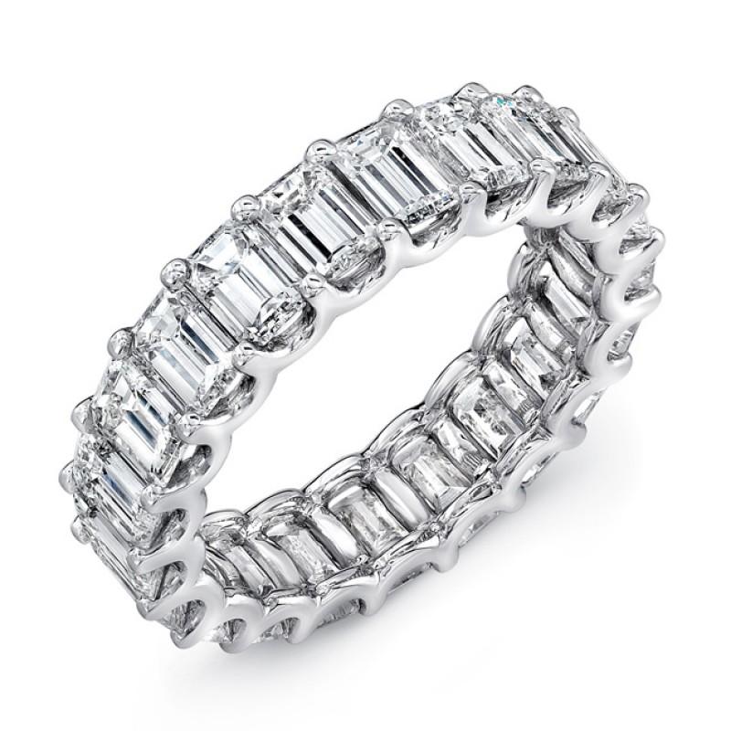 Uneek Platinum Emerald Cut Diamond Eternity Band-ETEC600