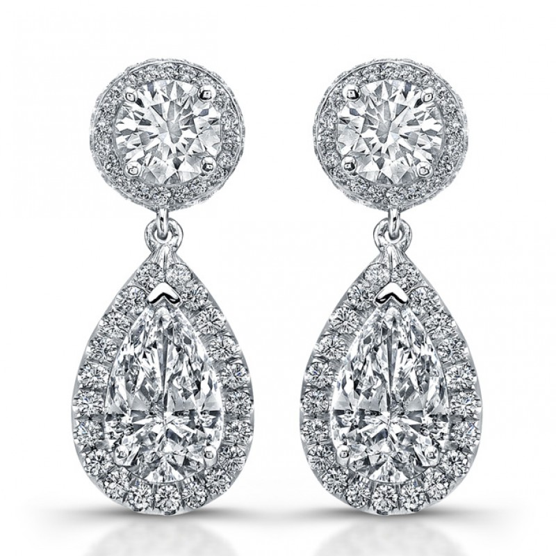 in gold diamond white double pave jewellery hoop earrings platinum product jewelers