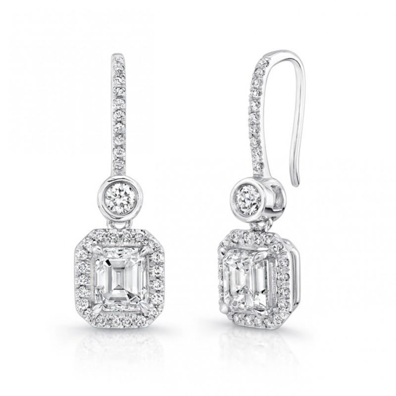 Uneek Emerald Cut Diamond Drop Earrings With Bezel Set Round Diamonds In 18k White Gold