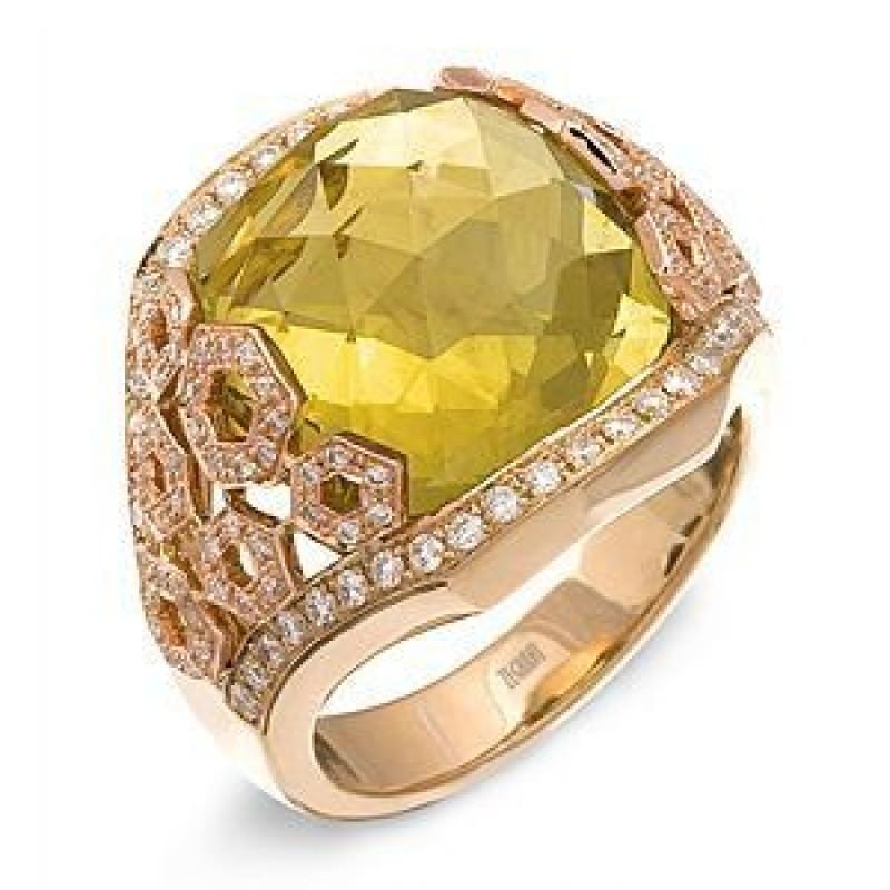 Elegant Zeghani Lemon Quartz and Diamond Ring