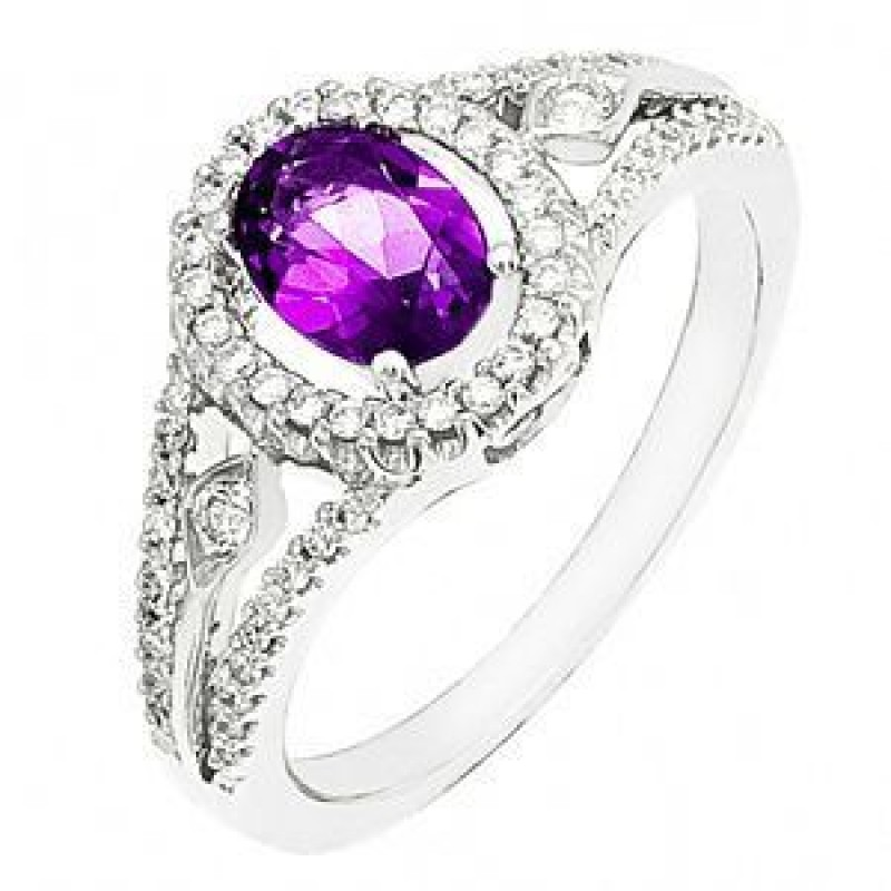 Gorgeous Zeghani Amethyst and Diamond Ring