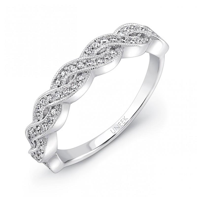 Unity Collection 14k White Gold Pave Diamond Weddi