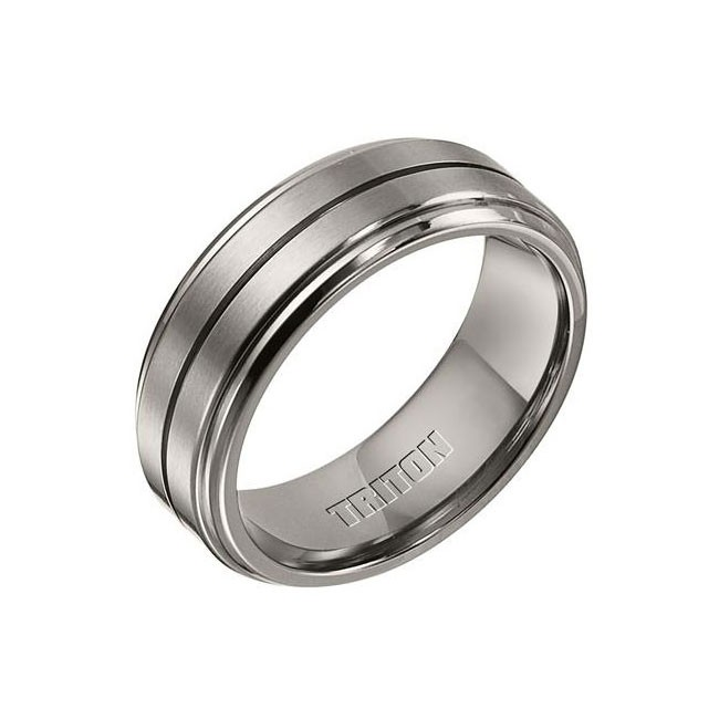 Triton 8mm Titanium Bevel Step Edge Comfort Fit Band 11-01-3295