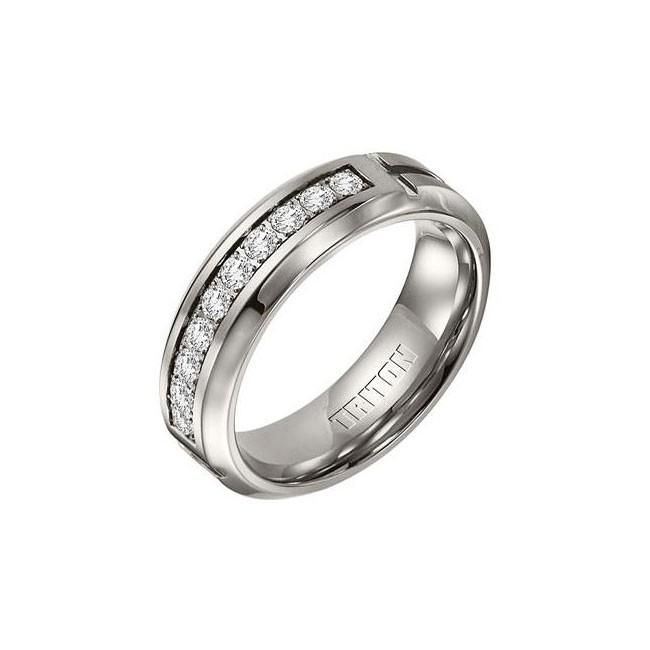 Triton 7mm Titanium Bevel Edge Brush Finish Diamond Wedding Band 22-3306