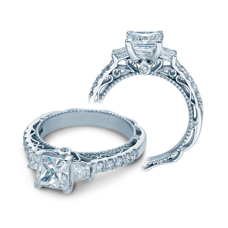 Verragio Three Stone Pave Diamond Engagement Ring