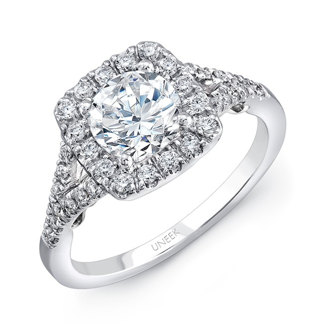 """Uneek """"Cancelli"""" Round Diamond Engagement Ring with Cushion-Shaped Halo, Pave Split Shank and Under-"""