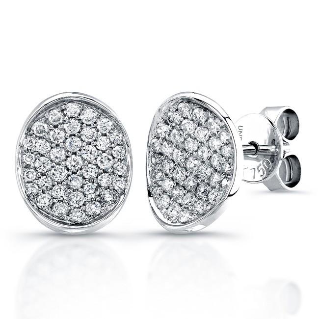 Uneek 18K White Gold Pave Diamond Earrings E215