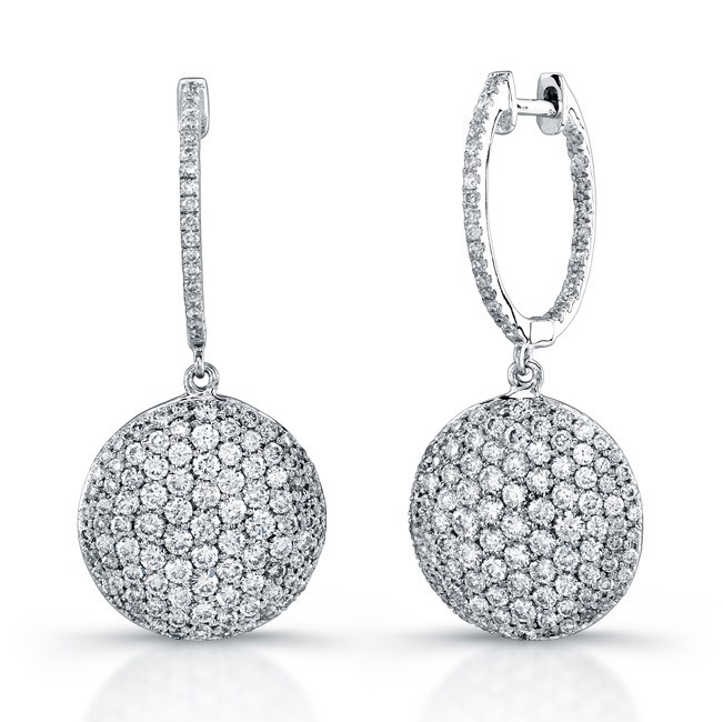 Uneek 18K White Gold Micro-Pave Diamond Earrings E217