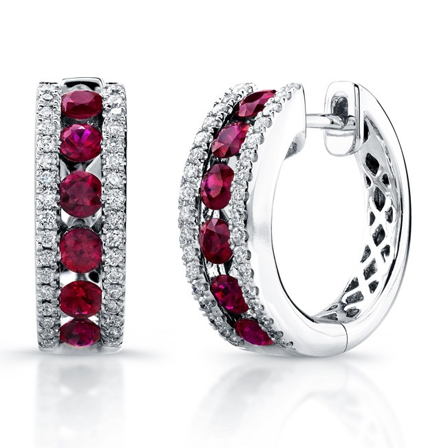 Saphisto Collection 14K White Gold Ruby and Diamond Earrings E224