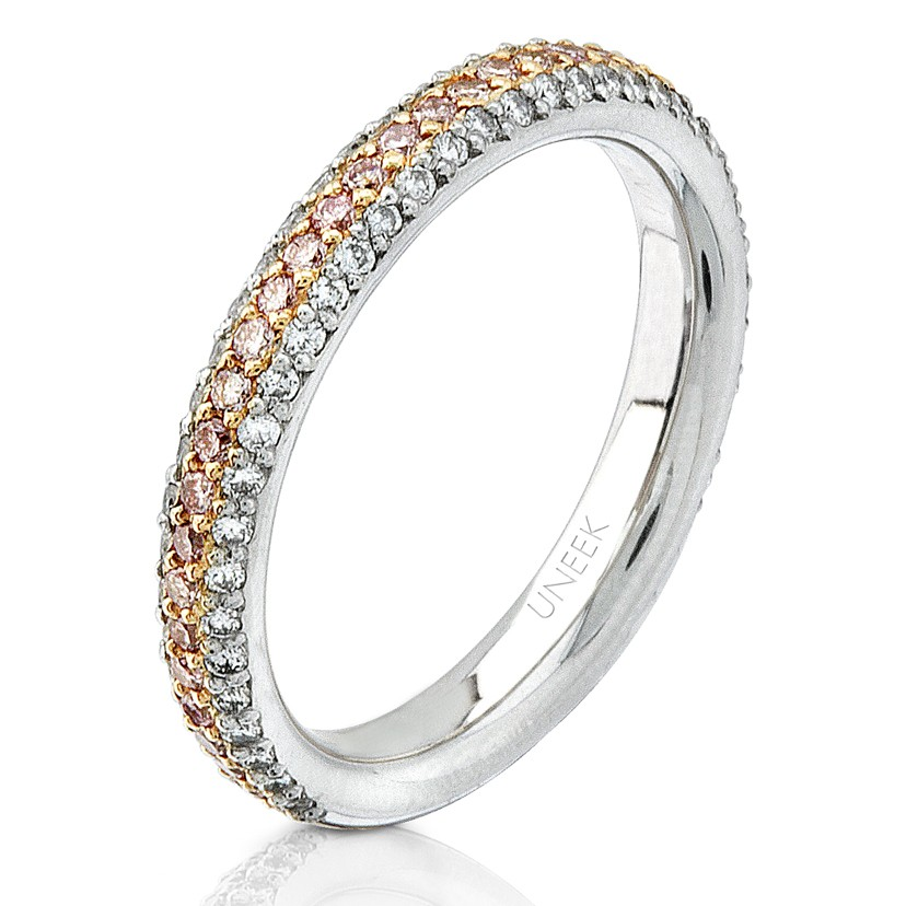 Uneek Natureal Pink and White Diamond Platinum and 18K Rose Gold Wedding Band LVB048