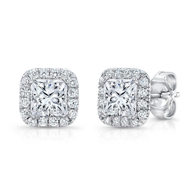 Uneek Princess Cut Diamond Halo Stud Earrings In 14k White Gold