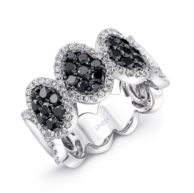 14K White Gold Black Oval Diamond Ring LVR103BL