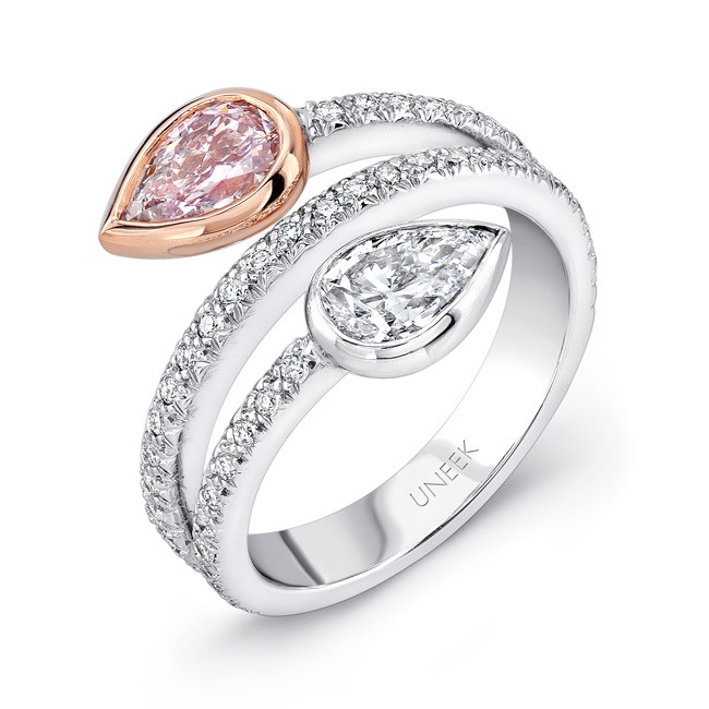 Natureal Collection 18K White & Rose Gold Pear Shaped White & Pink Diamond Ring LVS268
