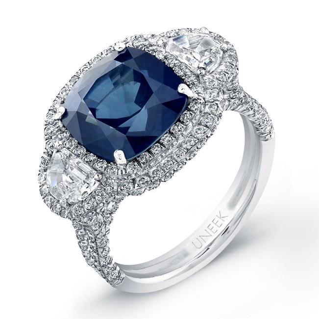 Saphisto Collection Platinum Blue Sapphire Cushion Diamond Ring LVS681