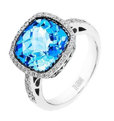 Alluring Zeghani Gemstone Ring in 14k White Gold