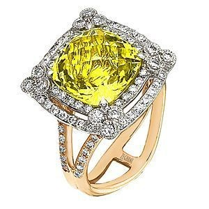 Alluring Zeghani Lemon Quartz and Diamond Ring