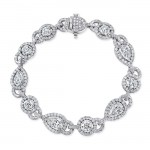 Uneek Round and Pear-Shaped Diamond Bracelet, in Platinum