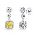 Natureal Collection 18K White & Yellow Gold Radiant Yellow Diamond Earrings LVE304