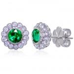 Uneek Bezel-Set Round Emerald Stud Earrings with Scalloped Diamond Halos and Vintage-Style Milgrain,