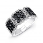 14K White Gold Black Square Diamond Ring LVR102BL