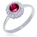 Uneek Bezel-Set Round Ruby Ring with Scalloped Diamond Halo and Vintage-Style Milgrain, in 14K White