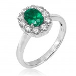 Uneek Oval Emerald Ring with Scalloped Diamond Halo, in 14K White Gold