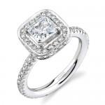 Uneek Platinum Princess-Cut Halo Diamond Engagement Ring LVS078