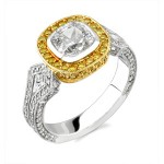 Natureal Collection Platinum Cushion Cut Diamond Engagement Ring LVS135
