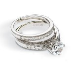 Lovely Zeghani Diamond Wedding Band and Engagement Set