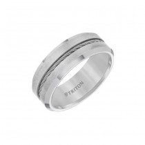Triton 8mm Tungsten Carbide Brush Finish With Bright Bevel Edge Comfort Fit Band 11-01-3289