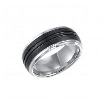 Triton Black And White Tungsten Carbide Comfort Fit Band 11-01-4148