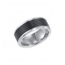 Triton Black And White Tungsten Carbide Comfort Fit Band 11-01-4150