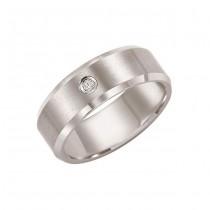 Triton 8mm White Tungsten Carbide Bevel Edge Comfort Fit Diamond Band 21-2239
