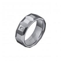 Triton 8mm Tungsten Carbide Faceted Bright Polish Comfort Fit Diamond Band 21-2333
