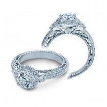 Verragio Three Stone Halo Pave Diamond Engagement Ring