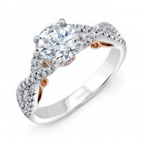 "Uneek ""Paradiso"" Round Diamond Solitaire Engagement Ring with Pave Infinty/Crisscross Shank in 14K W"