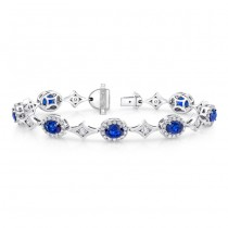 Uneek Oval Sapphire Bracelet with Channel-Set Diamonds in Elegant Rhomboid Links, in 18K White Gold