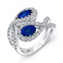Uneek Twin Oval Blue Sapphire Ring with Infinity-Style Bypass Shank, in 18K White Gold