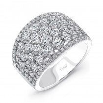 "Uneek ""Frivolite"" Cluster Diamond Band with Pave Edges, in 14K White Gold"