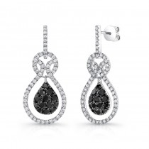 14K White Gold Black Pear Shaped Diamond Earrings LVE029BL