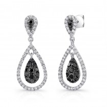 14K White Gold Black Pear Shaped Diamond Earrings LVE033BL
