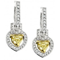 Natureal Collection 18K White Gold Yellow Heart Shape Diamond Earrings LVE090