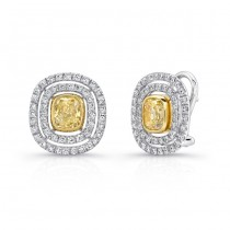 18K White & Yellow Gold Cushion Diamond Stud Earrings LVE144