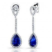 Saphisto Collection 18K White Gold Sapphire and Diamond Earrings LVE176